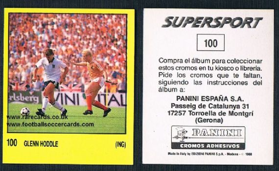 1988 Spanish Panini Supersport 100 Glenn Hoddle Spurs Swindon Chelsea